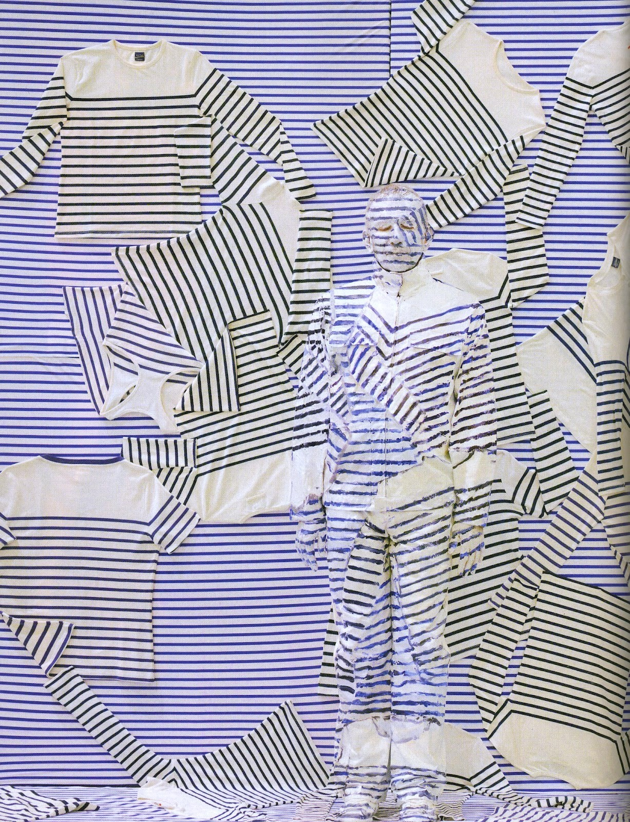 texturism:  jean paul gaultier hidden in his stripes by chinese artist liu biolin, currently exhibiting his mastery at eli klein fine art in soho. - valentineuhovski | via thatluciegirl