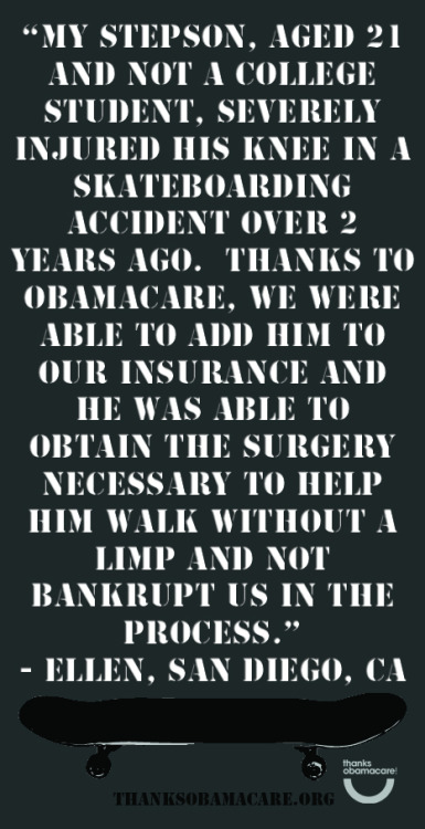 Ellen is saying #thanksobamacare because her stepson was able to get the surgery he needed by being covered on their insurance. This saved their family from paying completely  out of pocket for and expensive surgery.