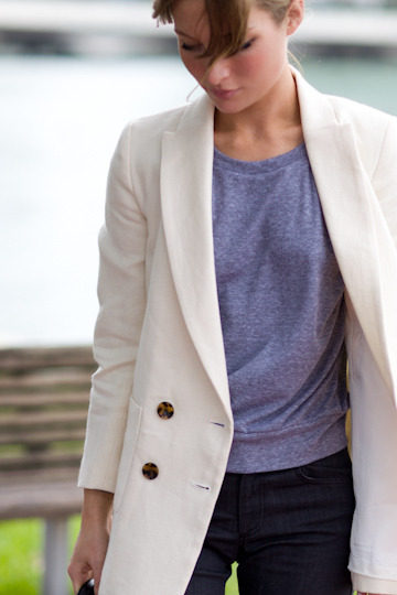 witanddelight:  4 Button Jacket - Ivory | Emerson Fry