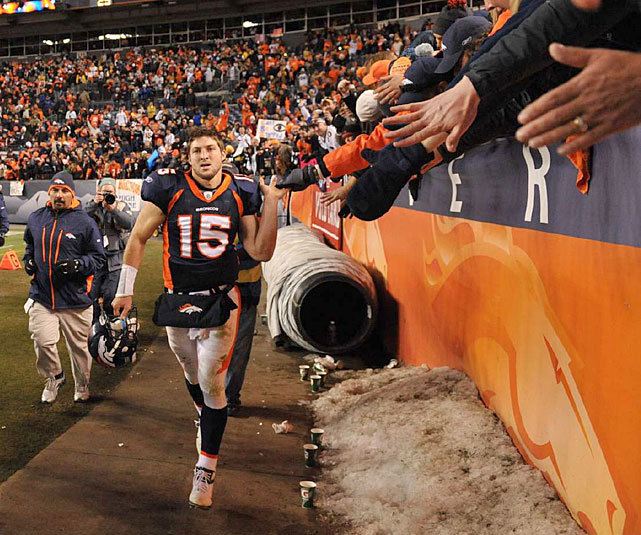 Tim Tebow greets Broncos fans after an overtime playoff victory against the Steelers  last January. With Peyton Manning joining Denver, Tebow's future is in doubt and SI's Jim Trotter believes he'll wind up in Miami, Jacksonville, Philadelphia or New England next season. (Robert Beck/SI) TROTTER: Where will Tim Tebow play in 2012? BANKS: Another title shot drew Manning to DenverGALLERY: Classic Photos of Tim Tebow