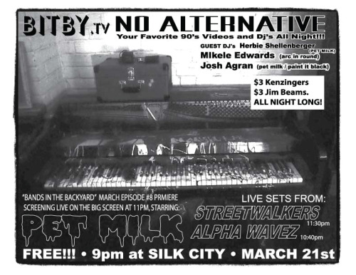 Wednesday night at Silk City: our Bands in the Back Yard video premiere and PET MILK DJs with Mikele from Arc in Round. See you there.