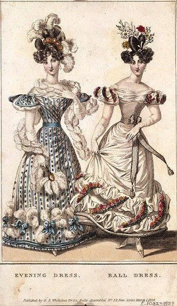 La Belle Assemblee, Evening and Ball Dresses, March 1828. Wow, the print on that blue gown is lovely!  One of my favorite things about the 1820s and 1830s is that they started embracing bold prints for evening wear which you don't see a lot of in the 1800s and 1810s.  I'm always a fan of stripes!