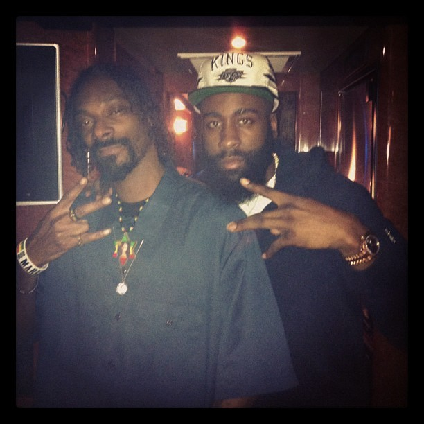 From James Harden's Intsagram: Wit the OG homie @SnoopDogg in OKC. - @jharden13 |
