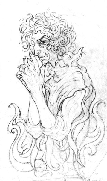 "Character design for Loki (Loge), the trickster from Norse mythology, inspired by Richard Wagner's Ring cycle. ""Ihrem Ende eilen sie zu…"""