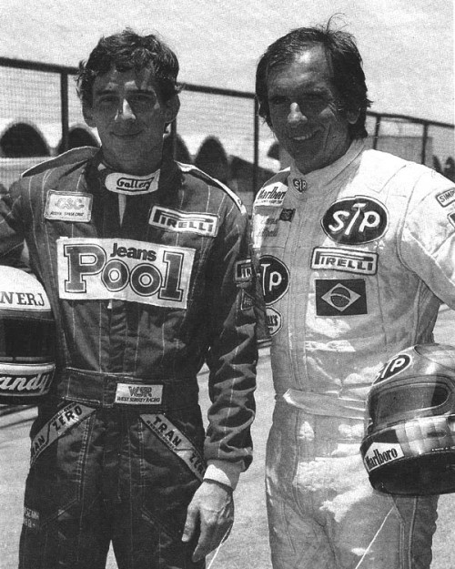 Ayrton Senna and Emerson Fitipaldi, 1984.