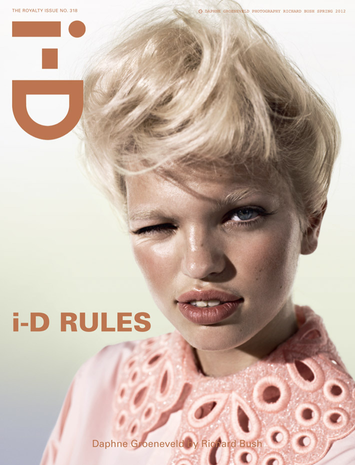 i-D Primavera 2012 The Royalty Issue Daphne Groeneveld por Richard Bush. ….. i-D Spring 2012 The Royalty Issue Daphne Groeneveld by Richard Bush.