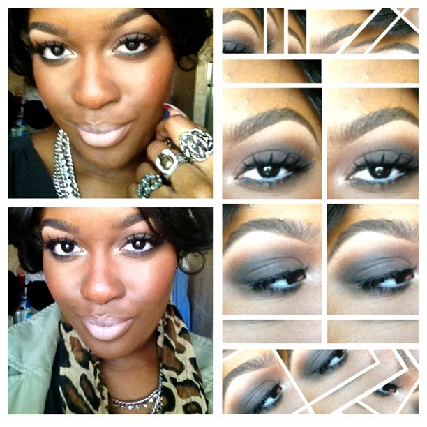 Yesterday's #MOTD: Daytime smokey using different shades of brown and a touch of black. On the eyelid: saddle and embark eyeshadow. In the crease: folie and brown script, with carbon on the outer v of the lid. Benefit eye bright on the waterline. On the lips: Cork lip liner, Sweet Sunrise lipstick (limited edition). #nofilter #picstitch #iphonesia #iphoneography #ilovemaciggirls #daytimemakeup #smokeyeye #makeup #beauty #mac #maccosmetics #brown #eyeshadow #lipstick #nudelip (Taken with instagram)