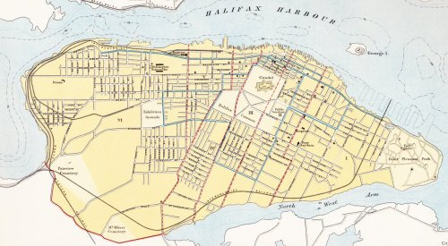 #YHZ #Halifax #cdnhistory #map #railroad Halifax, Nova Scotia, Circa 1910 Right click, open in new tab … to enlarge. Blue lines represent street railway (streetcar line). Before the Halifax Explosion. from: Atlas of Canada; 1915; Department of the Interior, Government of Canada.