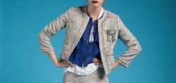Wicker Coat, Daybreak Top, Upcycled Vintage Brooch, Burning Torch Spring 2012 Lookbook