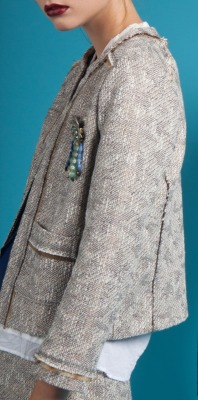 Wicker Coat, Upcycled Vintage Brooch, Burning Torch Spring 2012 Lookbook