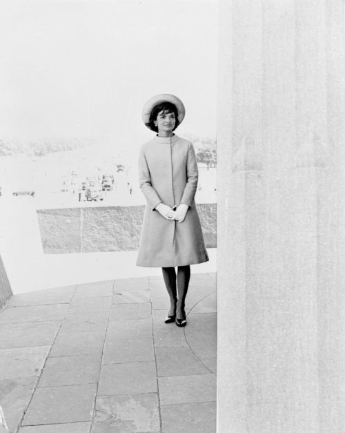jackandjackie:  First Lady Jacqueline Kennedy stands at Vijay Chowk, following her arrival in New Delhi, India ~ March 12th, 1962