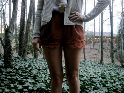 Ooooh, I am very in love with my new scalloped shorts from Threadsence. They look identical to a pair I spotted on Polyvore, and I decided I wanted to bring to life a Polyvore set I made a few months ago.  I even brought 1Q84 along. This is so embarrassing. But I digress…  I wore this outfit, along with my trusty 'Q' Scrabble tile ring, to trivia, but we still didn't win. I get, um, a little competitive at trivia. Nasty habit, that. Blouse: Anthropologie/Sweater: Thrifted, by Zara/Shorts: Threadsence/Flats: Target/Book: Amazon/Ring: Atlanta Indie Craft Experience