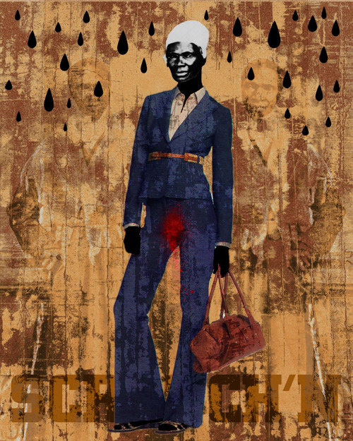 "pamelashepard:  ""Ain't I a Woman"" blue x Ofunne Obiamiwe - artist, activist and educator http://www.ofunne.com"