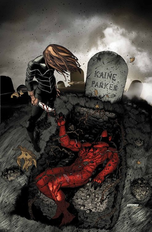 The Scarlet Spider loses to Ana Kravinoff/Kraven the Hunter on the cover to Scarlet Spider #6 from Marvel.