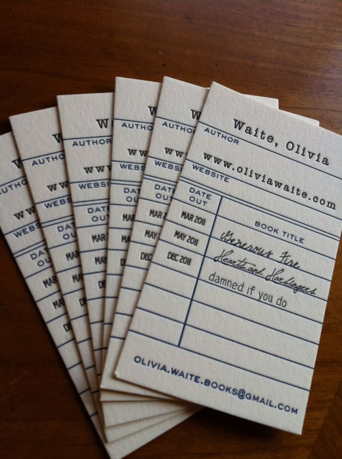 oliviawaite:  Library-inspired business cards!