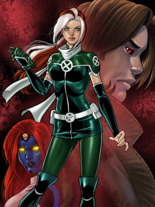 I used to think Rogue had one of the more complex histories in the X-Men gang but Marvel has proved me wrong over and over and over. Regardless, I heart this depiction of her along with the visages of her two biggest influences, Mystique and Gambit. Tis a collab between Jamie Fay and Rey Arzeno. Cheers, boys!