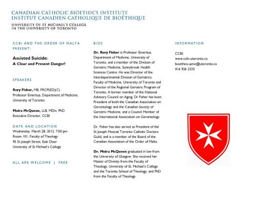 Wednesday, March 28, 2012, 7:00 pm: CCBI AND THE ORDER OF MALTA PRESENT: Assisted Suicide: A Clear and Present Danger?