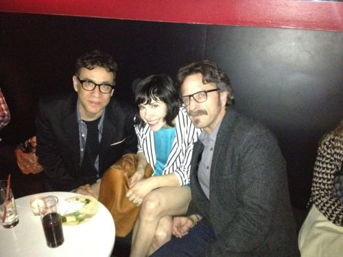 "popculturebrain:  ""Me, @Carrie_Rachel & Fred Armisen at @IFCtv up fronts! Now."" -@marcmaron  OHH, Y'KNOW, NBD.  Marc Maron is getting a show on IFC, which will undoubtedly be similar to ""Curb Your Enthusiasm"".  Which means that it will join the four shows I regularly watch… two of which will now be on IFC, one of which is already ""Curb Your Enthusiasm."" Btw, loving Carrie Brownstein's blazer.  Do want."