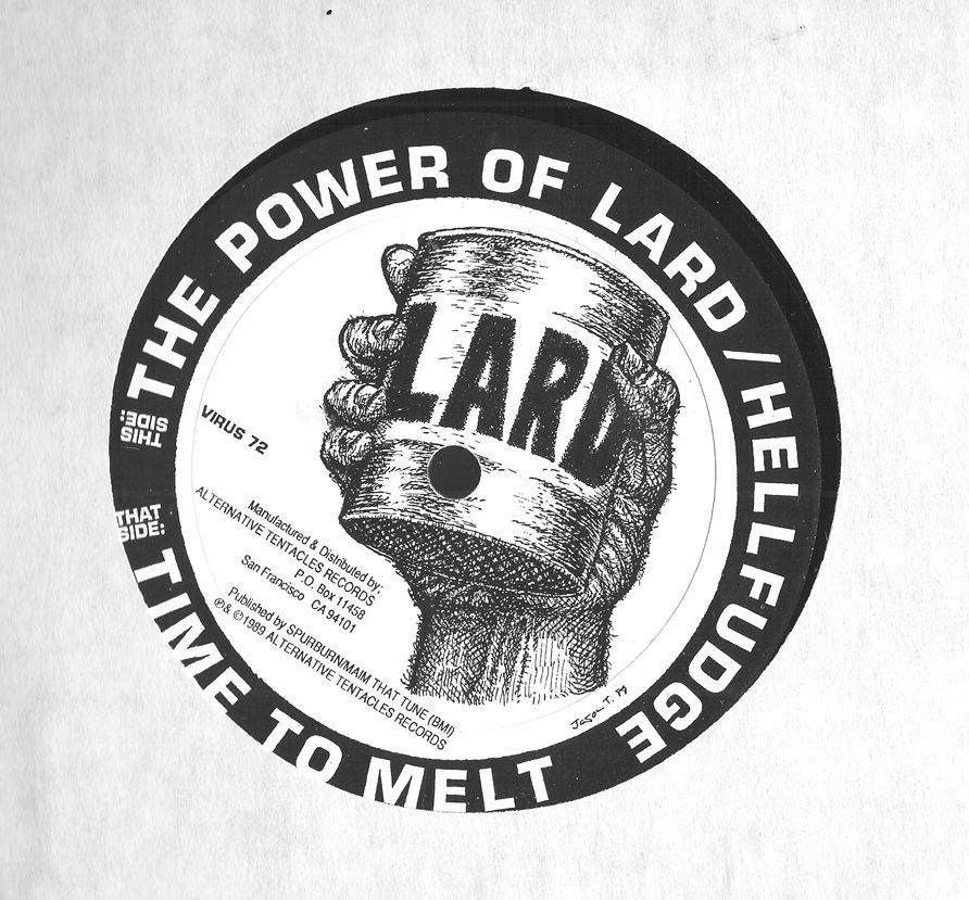 "LARD RECORD ILLUSTRATION 1989 LARD  Illustration 1989. I was into Robert Crumb during this period, I think his influence shows a little in this drawing I did for the inner label of the Lard 12"" released by Alternative Tentacles Records. I worked for AT from 87-90 I believe. I did mailorder and all Biafra's record trades and a bunch of other stuff. That was a cool job to get after high school."