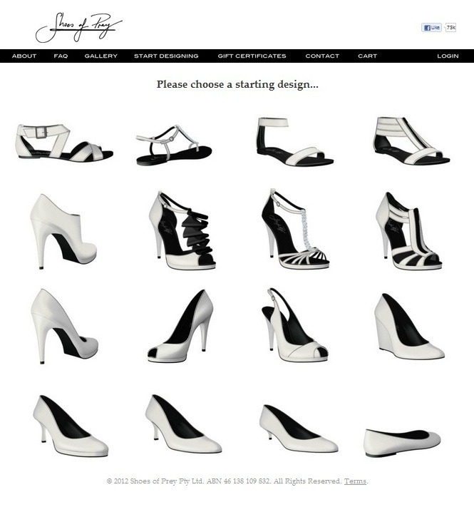 "BE INSPIRED. Design your own shoe! Yep — it's true. ""Shoes of Prey"" is a fun platform in which you can become the designer of your own shoe, and then have it handmade just for you! Completing a design will include the following steps:  choose a starting design choose a material (ex. patent leather, suede, sequins) choose a color or colors for your shoe choose a type of heel (ex. stiletto, wedge) choose a heel height We did not purchase any shoes yet, but definitely think the Do-It-Yourself design process is pretty neat. Has anyone heard of Shoes of Prey? Did you buy a shoe made especially for you? -AJ"