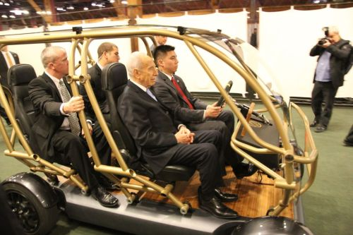 Israeli president Shimon Peres enjoying the panoramic roof of our vehicle at the Launch Festival on March 7th. This was the only window secret services hadn't blackened in the building that day.