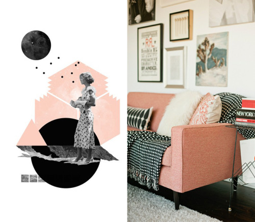 Today's color combo love, Peach, black and white. so pretty :) Check out all the lovely prints by Natalie Nicklin on society6, and this house tour on decor8 is amazing! I want all the things :) 1//2