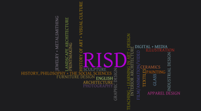 I made this Wordle to celebrate my friend's acceptance to RISD. The titles and their colors are from RISD's Academics page. I was really struck by this arrangement for some reason. Text: [[MORE]] APPAREL~DESIGN:1:cc3399 ARCHITECTURE:1:cc9933 CERAMICS:1:cc6633 DIGITAL~+~MEDIA:1:88bbcc ENGLISH:1:ccee77 FILM/ANIMATION/VIDEO:1:504e9e FURNITURE~DESIGN:1:9e8337 GLASS:1:6c99ba GRAPHIC~DESIGN:1:808080 HISTORY~OF~ART~+~VISUAL~CULTURE:1:c2920e HISTORY,~PHILOSOPHY~+~THE~SOCIAL~SCIENCES:1:c2790c ILLUSTRATION:1:c22c21 INDUSTRIAL~DESIGN:1:7d9ea6 INTERIOR~ARCHITECTURE:1:999667 JEWELRY~+~METALSMITHING:1:928899 LANDSCAPE~ARCHITECTURE:1:92b347 PAINTING:1:d66400 PHOTOGRAPHY:1:6a4a7a PRINTMAKING:1:b89f4e SCULPTURE:1:758a8f TEACHING~+~LEARNING~IN~ART~+~DESIGN:1:8f8a04 TEXTILES:1:d98911 RISD:5:b500d9