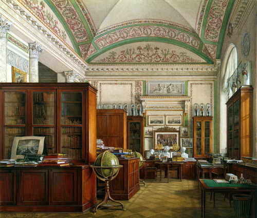 missfolly:  Interiors of the Winter Palace, Library, by Edward Petrovich Gau