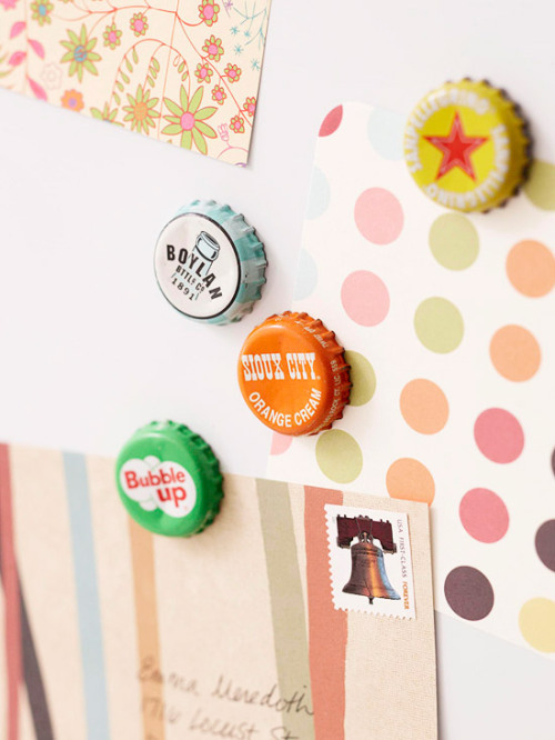 Better Homes & Gardens | Bottlecap Magnets For this cute DIY craft, you just need some bottle-caps, magnets, and a hot glue gun. First, gather up your bottle-caps. You can find some vintage bottle caps at flea markets and antique stores, or you can start saving some from your favorite beverages, or bottle-caps from vacation trips. Then pick up some small magnets from your local crafts store and hot glue the magnets to the bottom of the cap. And for those of you with college students in your life, beer caps work well too!