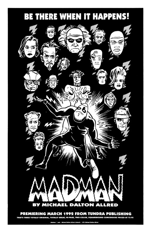 Promotional ad for Madman by Michael Allred, 1992.
