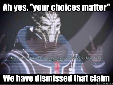 Mass Effect 3  I love how the links back to The Councils scepticism in Mass Effect are brought up a lot. Even if they are warranted.