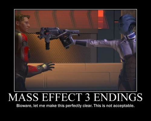 Mass Effect 3 endings. Liara has got the right idea. (Y)