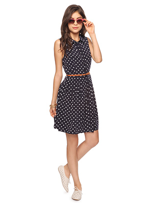 "Belted Polka Dot Shirtdress - $24.80, Forever 21 A Forever 21 dress that is actually long enough for tall girls? (It has a 36.5"" length) And less than $25? Sign me up!"
