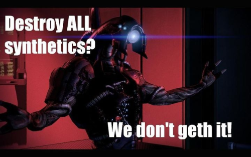 The Geth in my Mass Effect 3 were saved, alongside the Quarians. After my diplomacy skills and brutal fighting, in addition to specific paragon options in ME2, fuck destroying all synthetics. AND Legion sacrificed himself. The Geth WILL live.