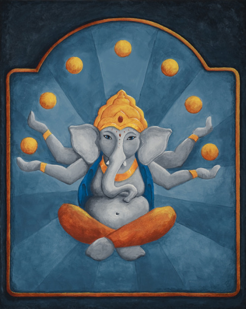 "Ganesh Juggling Oranges 16""x20"" acrylic on canvasThis whimsical piece is one of my personal favorites. The design was inspired in part by vintage orange crate labels, and features the playful Hindu elephant god of wisdom and creativity, bringer of luck, remover of obstacles and patron of arts and sciences. 8""x10"" print available here."