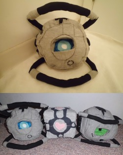 Wheatley and his other plushie Portal pals c: …obvious lighting and setting difference is obvious