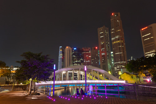 Down by the river at night. Singapore.