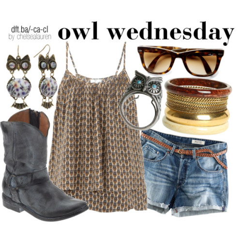 Owl Wednesday [07] by chelsealauren10 featuring wayfarer sunglasses   Joie, £170H&M short shorts, £20Bed|Stu leather boots, $200Wet Seal plastic bangle, $8.50Drop earrings, $8.40Owl ring, $35Ray-Ban wayfarer sunglasses, $155