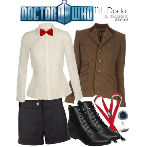 11th Doctor | Doctor Who by chelsealauren10 featuring lace tops   HUISHAN ZHANG lace top, £765Ralph Lauren Black Label Denim wool blazer, £859Ted Baker metallic shorts, £60Lace up booties, £29Judith jack earrings, $165Men's RED SUSPENDERS Y Shape Back Elastic Button & Clip Convertible, $20