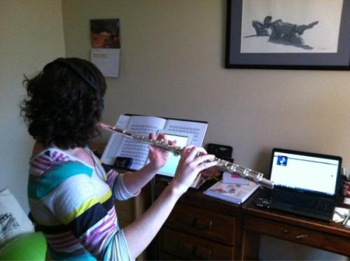 Here is Alexis practicing her audition using her iPad for the score.