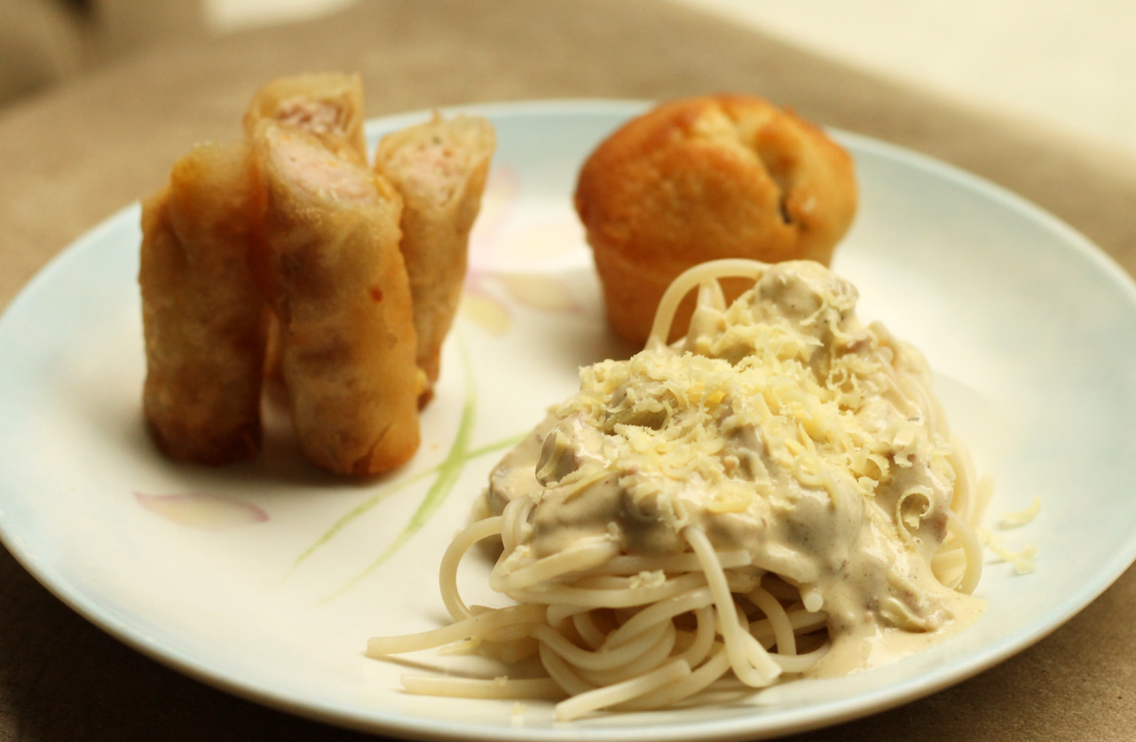 What I ate the entire day yesterday…. :)) bwhahahaa Carbonara ala Ranel + Shanghai Rolls + Blueberry Muffin