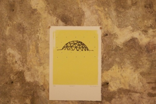 "buckminster-fuller:  Recess by Michael Park ""Yellow base layer, then a silkscreen of ""that playground thingy"" otherwise known as a geodesic dome. Then I added some dots. R. Buckminster Fuller is credited with its popularization here in the states."" via: http://artandleisure.wordpress.com"