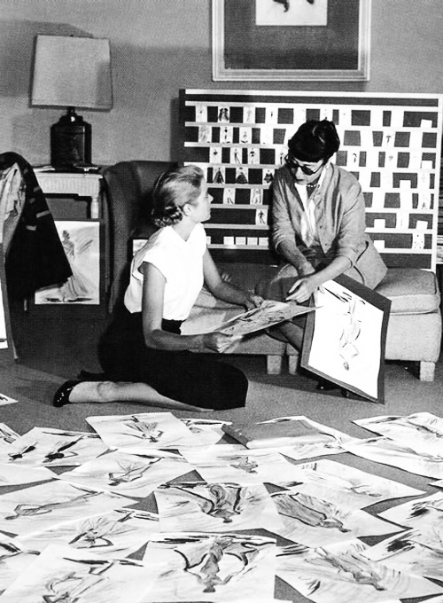 Grace Kelly & Edith Head at Head's studio in Paramount, 1954.