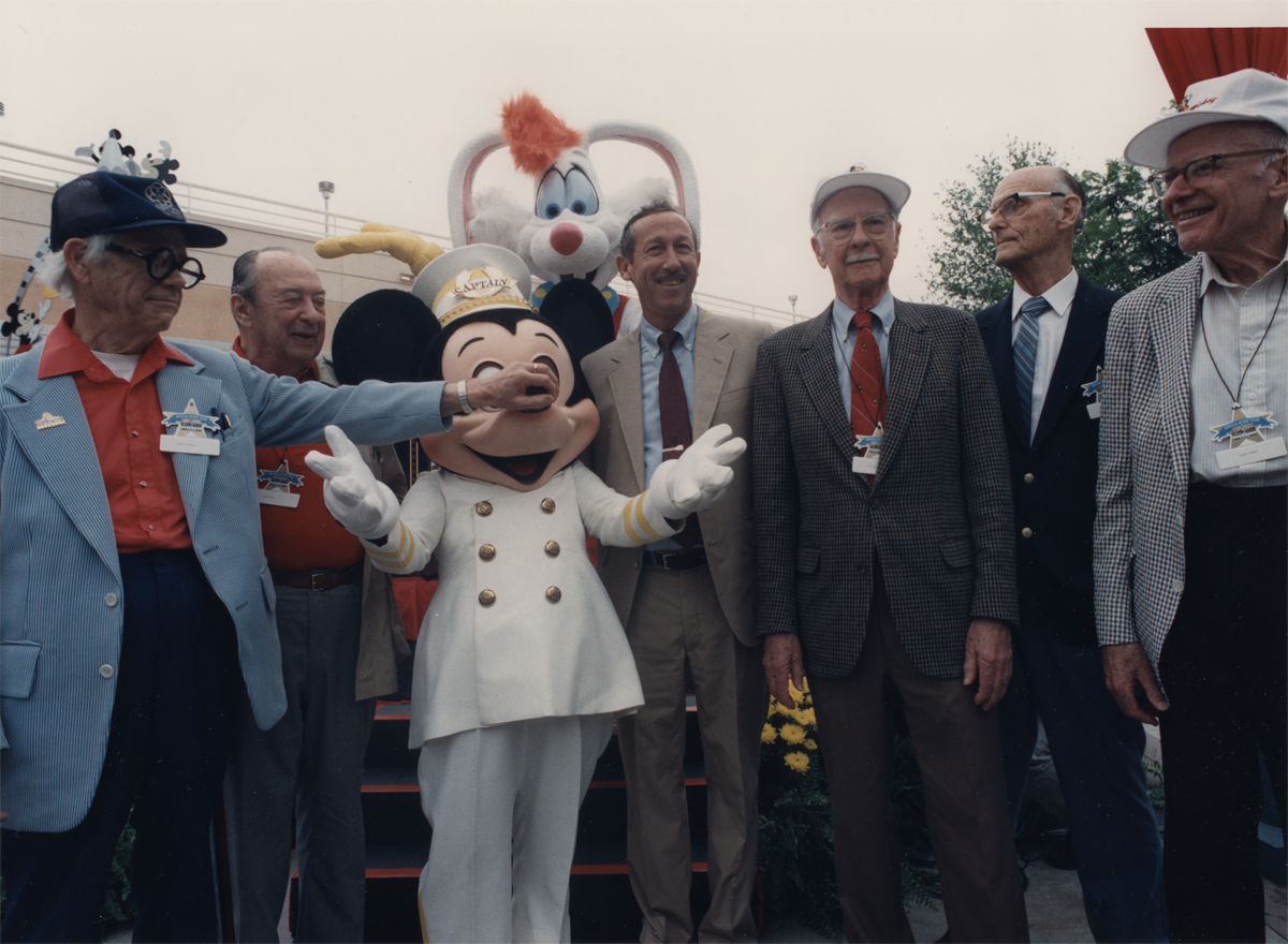 wardkimball:  39. Disney-MGM Studios opened in Orlando, Florida on this day in 1989. The last four surviving members of the Nine Old Men were invited to a ceremony at the then-newly opened Disney-MGM Studios theme park. Top Image: (from left to right) Ollie Johnston, Frank Thomas, Ward Kimball, Ken O'Connor, Marc Davis. Roy Disney Jr. appears in the bottom photo with everybody else.