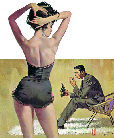 "1950sunlimited:  Robert McGinnis; Artist This painting appeared on the paperbacks by Raymond Banks titled ""The Computer Kill"" and Gil Brewer's ""Play It Hard""."
