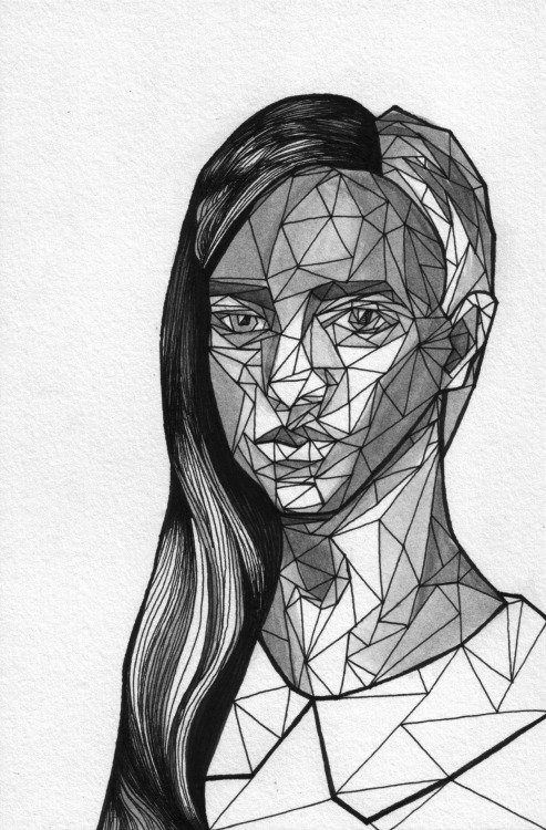 Geometric Portrait - Girl 01  //  Allison Kunath  India Ink + Pen  //  6x9""