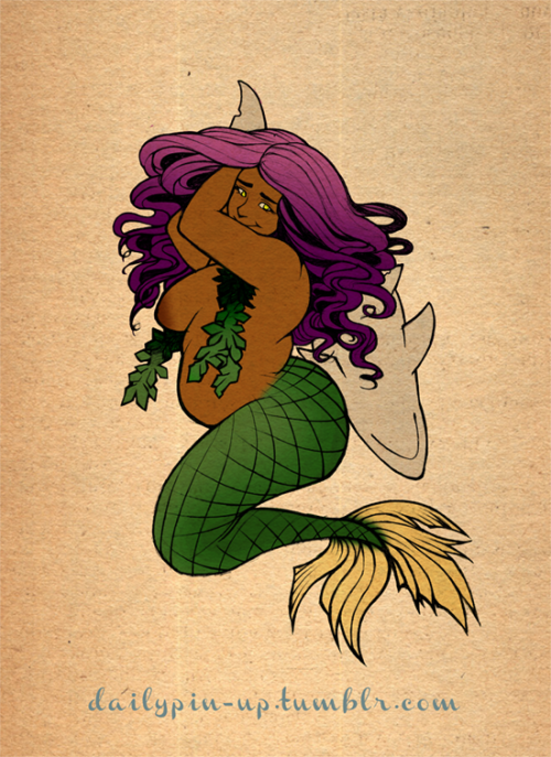 Daily Pin-up did a fat brown girl mermaid!  How much do you love this?dailypin-up:  New pic! hope ya'll like it :> thanks to everyone who stuck with me thru thick and thicker lol