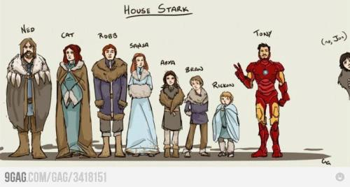 New season of Game of Thrones? New Tony Stark/House Stark gags aplenty! via carnivaloftherandom:  wonderwomanv2:  ornamentedbeing:  It took me a good five minutes to stop laughing. No, Jon.   Tee hee hee.  Lol.