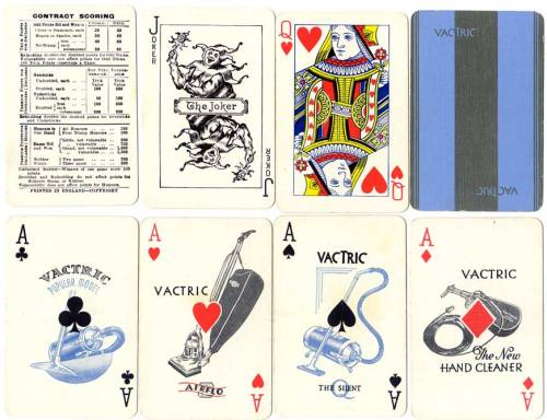 Complimentary deck with 4 special aces for Vactric Ltd Vacuum Cleaners, manufactured by De La Rue, c.1925.