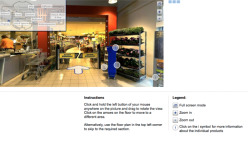 Virtual roundtrip through a German supermarket